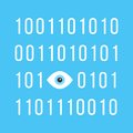 Concept of big brother is watching you with binary Royalty Free Stock Photo