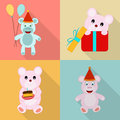 Concept of birthday icons with teddy.
