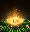 Concept Of Bitcoin Like A Processor With Magic Digital Light On Motherboard