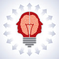 Concept of brain with bulbs as solutions to proble Stock Image