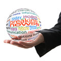 Concept of breaking news transparent ball with inscription in a hand Stock Images