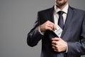 Concept bribe. Man take money. Royalty Free Stock Photo