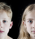 Concept of brother sister photo two children on black background twins or Stock Images