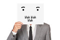Concept business show paper say blah hide face abstract isolated on white background Royalty Free Stock Photo