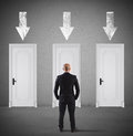 Concept of businessman choosing the right door Royalty Free Stock Photo