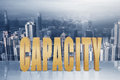 Concept of capacity efficiency performance etc with d text under sky in the modern city Royalty Free Stock Photos