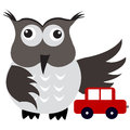 Concept of car insurance with car under owl wing protection a Stock Photos