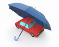 Concept of car insurance one toy with an umbrella d render Royalty Free Stock Photo
