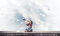 Concept of careless happy childhood with girl exploring this wor