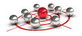 Concept of challenge and leadership one target with some metal spheres one them is red colored in the center or leader d render Royalty Free Stock Photos
