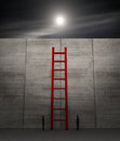 Concept of challenge one high wall with a stair with two human silhouettes or competition d render Royalty Free Stock Images