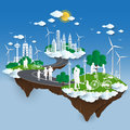 The concept of City go Green,Green City concept. paper cut Stlye