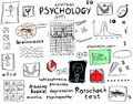 Concept clinical psychology color doodle icons symbols Royalty Free Stock Photo