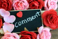 Concept of comment with flowers in the background Royalty Free Stock Image
