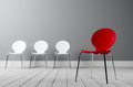 Concept for creative outstanding leadership three white and a red chair Royalty Free Stock Image