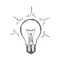 Concept of creativity with vector lighting bulb.