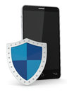 Concept of data protection close up view a smartphone with a shield d render Royalty Free Stock Photos