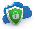 Concept of data protection one cloud with a shield d render Stock Photo