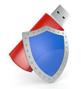 Concept of data protection one usb key with a shield d render Stock Photo