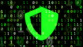 Concept for data security with computer bits and bouncing green shield symbol