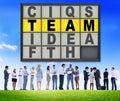 Concept de connexion de team puzzle problem solving corporate Images stock