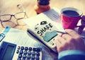 Concept de notepad cloud computing d homme d affaires Images stock