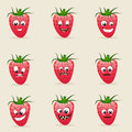 Concept of different expressions with strawberry set facial funny characters on beige background Stock Image