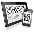Concept - Digital News on Tablet PC and Smartphone Stock Image