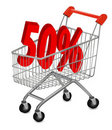 Concept of discount. Shopping cart with sale. Royalty Free Stock Photography