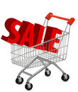 Concept of discount. Shopping cart with sale. Royalty Free Stock Photos