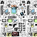 Concept doodle mobile phones pattern hand drawn isolated on white background Royalty Free Stock Image