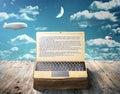 The concept of e-book. An open book as laptop Royalty Free Stock Photo