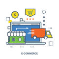 Concept of e-commerce, store shop and delivery. Royalty Free Stock Photo