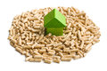 Concept of ecological and economic heating wooden pellets the Stock Photo