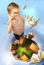 Concept education image clever little boy stands books planet Royalty Free Stock Photos