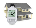 Concept of energy saving one house with a digital thermostatic valve that show temperature in fahrenheit degrees d render Stock Photo