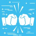 Concept of fierce competition. Flat lay white art two hands clenched into fists collide on blue background Royalty Free Stock Photo