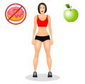 Concept with fit young woman in sportswear. Beautiful sports girl. Useful and harmful food. Vector illustration isolated