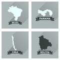 Concept flat icons with long shadow maps countries of world Royalty Free Stock Photo