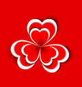 Concept flower from paper hearts shape on red background Stock Image