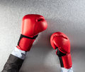Concept of frustration or office competition for boxing businessman Royalty Free Stock Photo