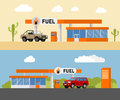 Concept fuel petrol station with a SUV car. Gas station and fuel pump with a shop. Vector illustration. Royalty Free Stock Photo