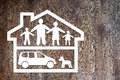 Concept of full family in their own home cvonceptual image Royalty Free Stock Photo