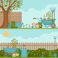 Concept of gardening. Garden tools.  Banner with summer garden l Royalty Free Stock Photo