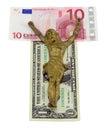 Concept gold jesus crucify euro dollar isolated Royalty Free Stock Photo