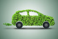 The concept of green electric car 3d rendering