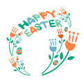 Concept happy easter illustration flowers and eggs vector with Royalty Free Stock Photos