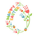 Concept happy easter illustration with flowers vector and eggs Stock Image