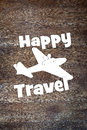 Concept of happy travel by the plane Royalty Free Stock Photo