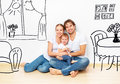 Concept : happy young family in  new apartment dream and plan interior Royalty Free Stock Photo
